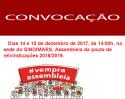 Assembléia geral  extraordinária: Dias 14 e 15.12.2017, às 14:00 horas.